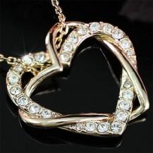 Кулон Heart Rose Gold Plated Necklace use Swarovski Crystal SN158