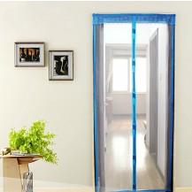 Антимоскитная сетка штора на дверь на магнитах Magic mesh без рисунка (218х130). Голубая