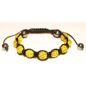 Браслет Шамбала с кристаллами желтый